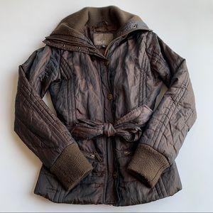 BKE Brown Metallic Puffer Coat Tie Waist Size Med